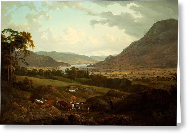 A Scene In The Lake District Greeting Card by Julius Caesar Ibbetson