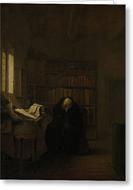 A Scholar In His Study The Old Savant, Salomon Koninck Greeting Card by Litz Collection