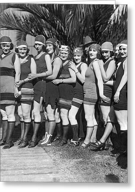 A Scrunch Of Beach Flappers Greeting Card by Underwood Archives