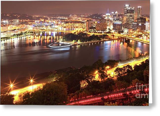 A Sea Of City Lights Greeting Card by Adam Jewell