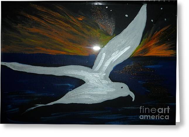 A Seagull At Night Greeting Card by Marie Bulger