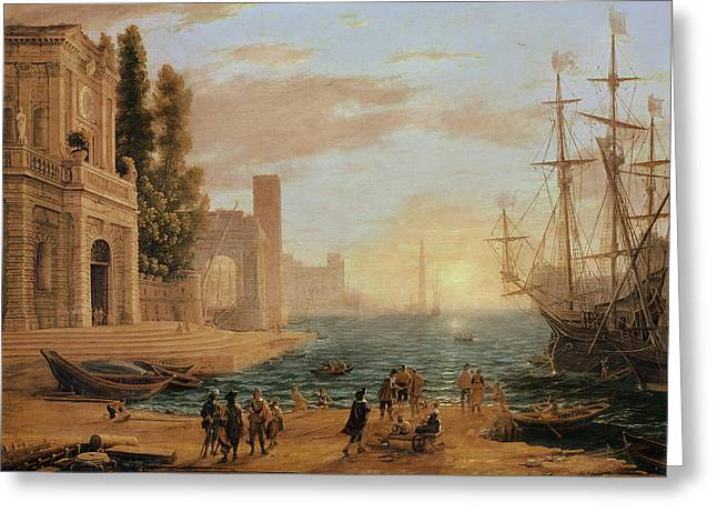 A Seaport, 1639 Greeting Card