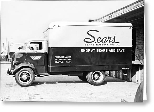 A Sears Roebuck Delivery Truck Greeting Card by Underwood Archives
