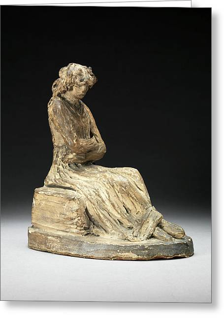 A Seated Woman Terracotta Bozzetto Of A Seated Woman Greeting Card