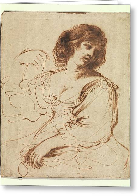 A Seated Young Woman Looking Greeting Card by Guercino