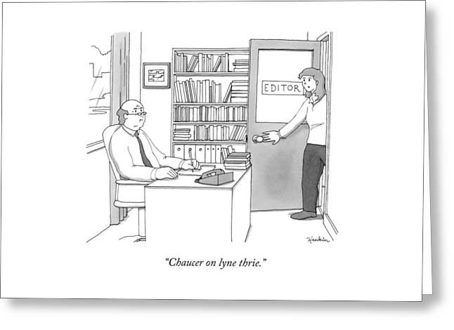 A Secretary Informs An Editor Greeting Card