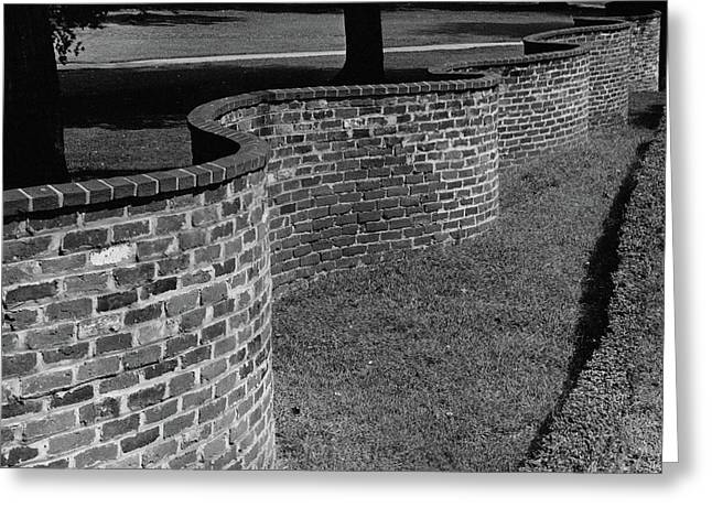 A Serpentine Brick Wall Greeting Card by William and Neill Dingledine