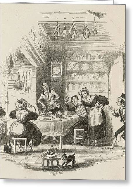 A Servants' Hall At The  Beginning Greeting Card by Mary Evans Picture Library