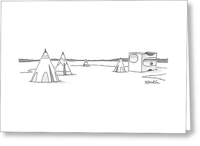 A Set Of Tepees Stands Next To A Large Pencil Greeting Card