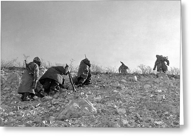 A Seventh Marine Patrol Fights Its Way Up A Frozen Mountain Side Greeting Card by Underwood Archives