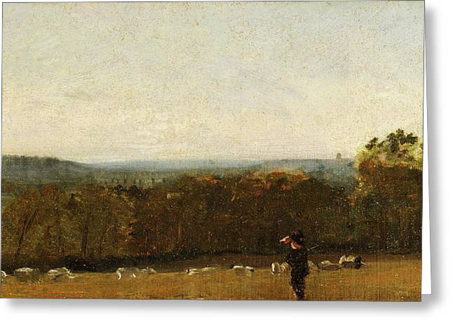 A Shepherd In A Landscape Looking Across Dedham Vale Greeting Card by Litz Collection