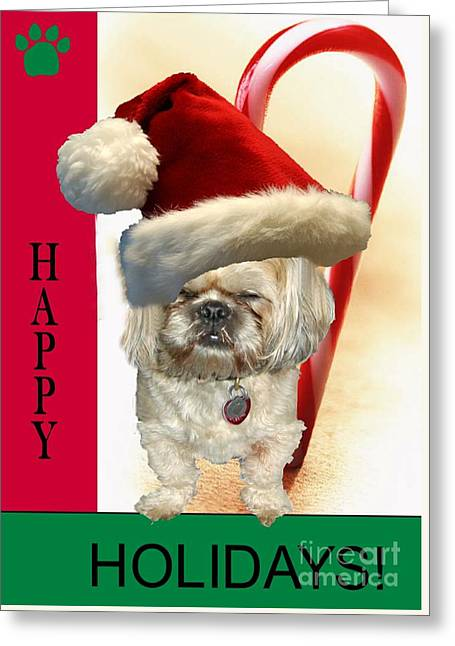 Greeting Card featuring the digital art A Shih Tzu's Happy Holidays Greeting by Polly Peacock