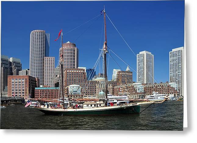 A Ship In Boston Harbor Greeting Card by Mitchell Grosky