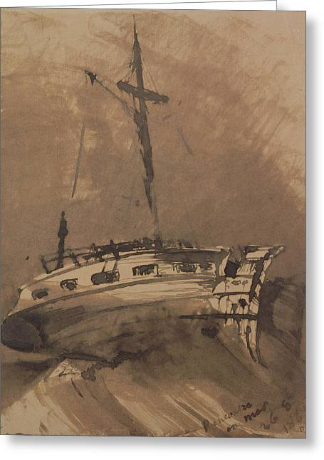 A Ship In Choppy Seas Greeting Card by Victor Hugo