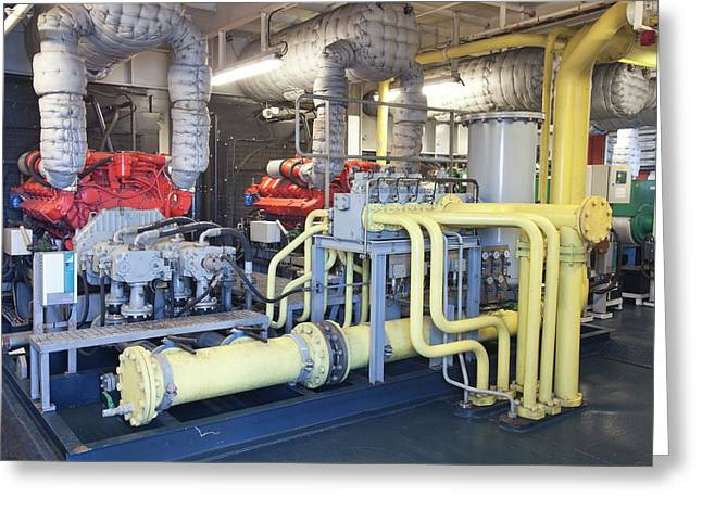 A Ships Engine Greeting Card by Ashley Cooper