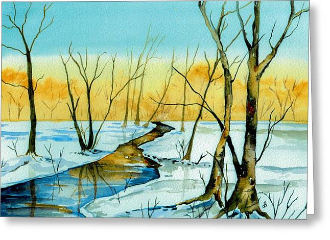 A Sign Of Winter Greeting Card by Brenda Owen