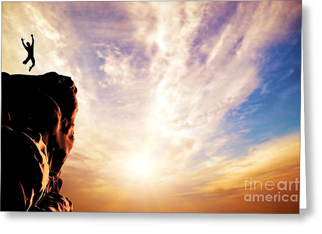 A Silhouette Of A Man Jumping For Joy On The Peak Of The Mountain Greeting Card