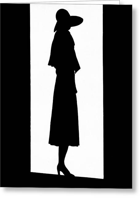 A Silhouetted Woman Greeting Card by  Barr?
