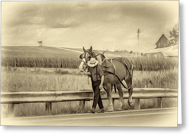 A Simple Life - Antique Sepia Greeting Card by Steve Harrington