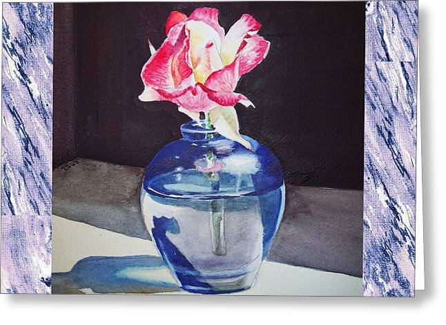 A Single Rose Mable Blue Greeting Card by Irina Sztukowski