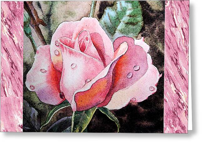 A Single Rose Make Me Pink  Greeting Card by Irina Sztukowski