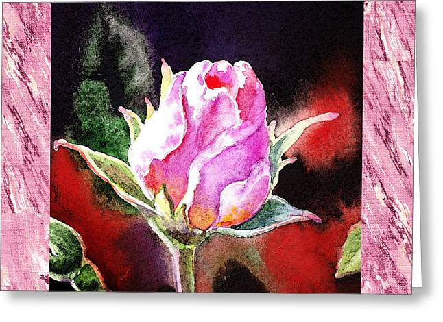 A Single Rose Pink Impressionism  Greeting Card by Irina Sztukowski