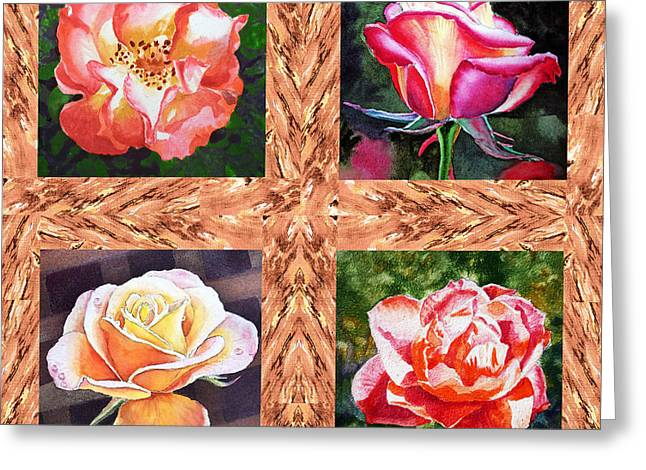 A Single Rose Quartet  Greeting Card by Irina Sztukowski