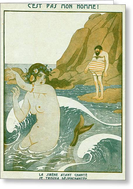 A Siren Lures A Man With Her  Song - Greeting Card