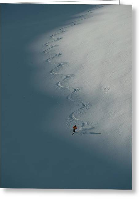 A Ski Guide Dances With A Mountain Greeting Card