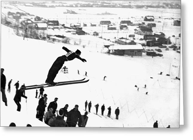 A Ski Jump On A Snowy Day Greeting Card
