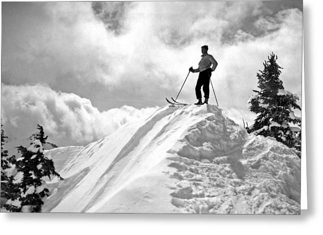 A Skier On Top Of Mount Hood Greeting Card by Underwood Archives