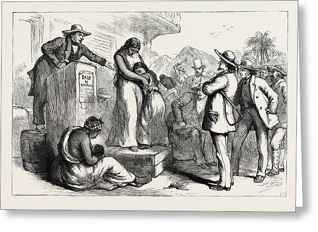 A Slave Auction, United States Of America Greeting Card by American School