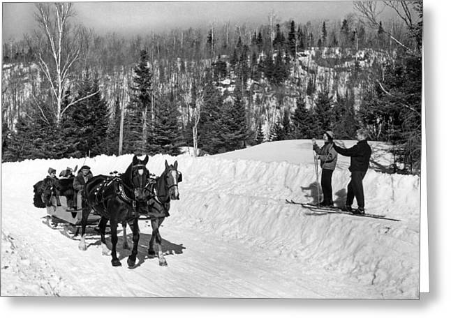 A Sleigh Ride Greets Skiers Greeting Card