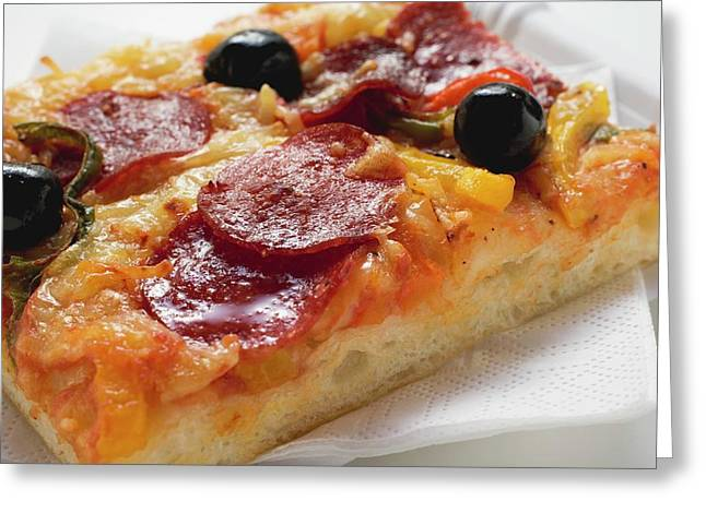 A Slice Of Salami Pizza With Peppers And Olives Greeting Card