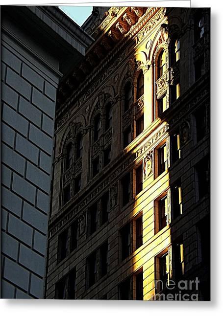 A Sliver Of Light In Manhattan Greeting Card by James Aiken