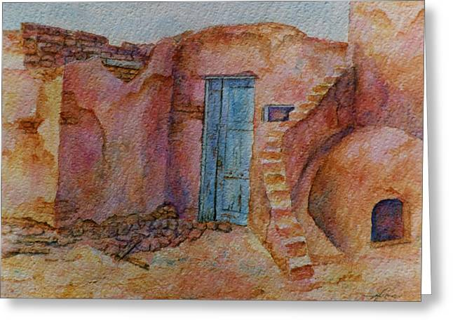 A Small Corner Of Taos Pueblo Greeting Card by Ann Peck
