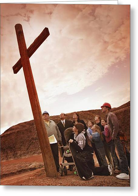 A Small Crowd Gathered At A Wooden Cross Greeting Card