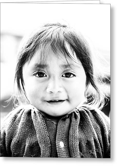 A Small Guatemalam Life - Black And White Greeting Card by Shelby  Young