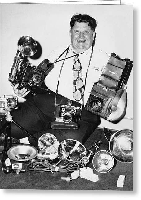 A Smiling Press Photographer Greeting Card by Underwood Archives