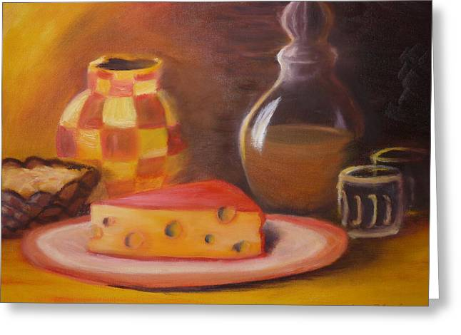 A Snack With Cheese Greeting Card by Anna  Henderson