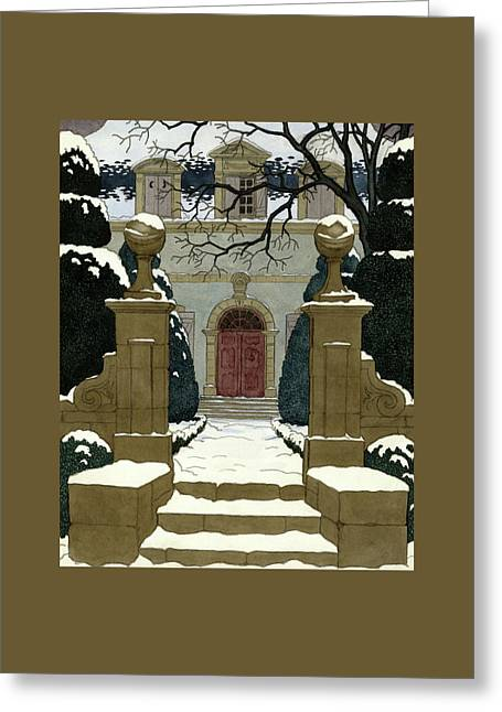 A Snow Covered Pathway Leading To A Mansion Greeting Card by Pierre Brissaud