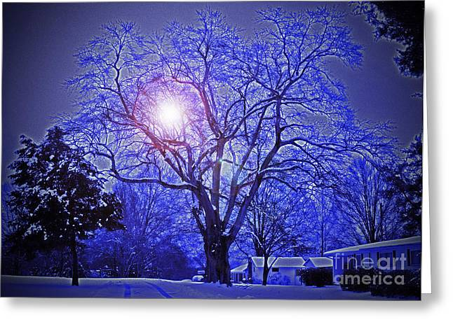 A Snow Glow Evening Greeting Card