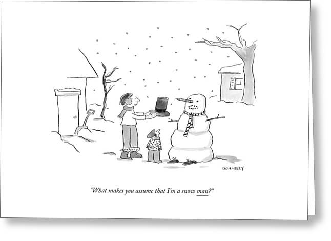A Snowman Confronts A Mother Greeting Card