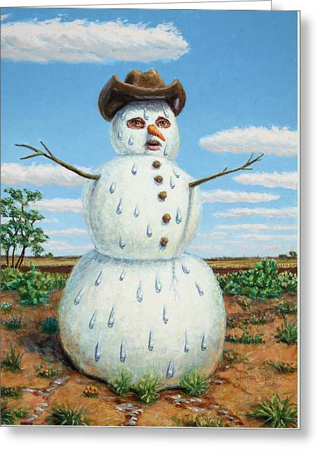 A Snowman In Texas Greeting Card