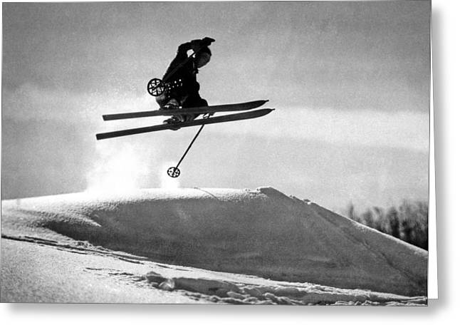 A Soaring Skier In Profile Greeting Card by Underwood Archives