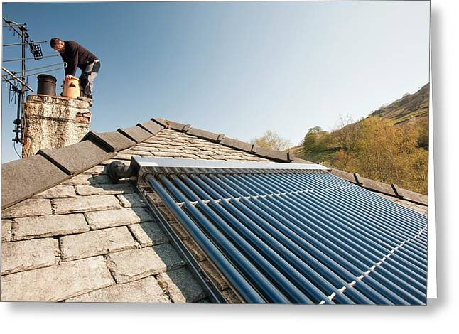 A Solar Panel Water Heater Greeting Card by Ashley Cooper