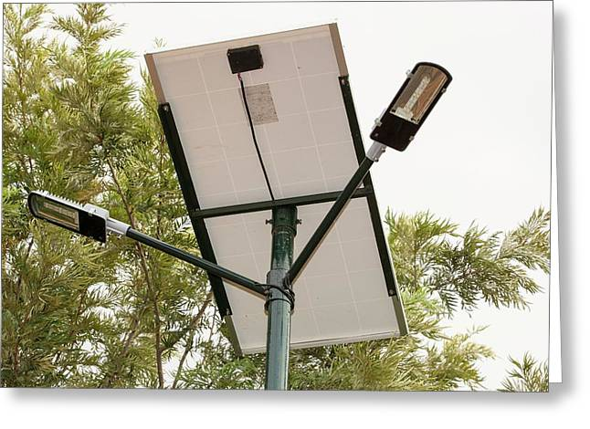 A Solar Street Light In Bangalore Greeting Card by Ashley Cooper