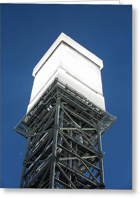A Solar Tower At Ivanpah Solar Greeting Card by Ashley Cooper