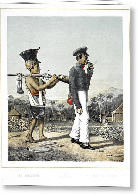 A Soldier And His Servant Greeting Card by British Library