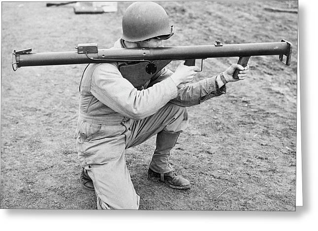 A Soldier Kneeling And Aiming Greeting Card